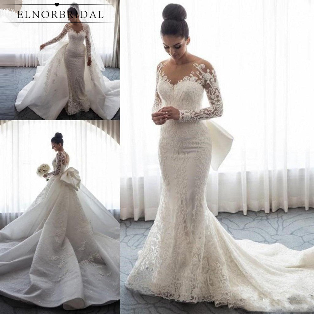 Vintage Mermaid Lace Wedding Dresses 2019 Detachable Train Vestidos De Novia Long Sleeve Bridal Gowns Custom Made Trouwjurk