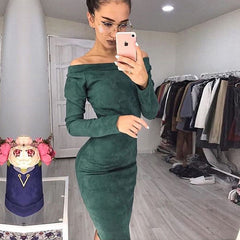 Qiuxuan Autumn Winter Faux Suede Long Sleeve Off Shoulder Women Mid Calf Dress Ladies Sexy Bodycon Party Dresses Multicolor