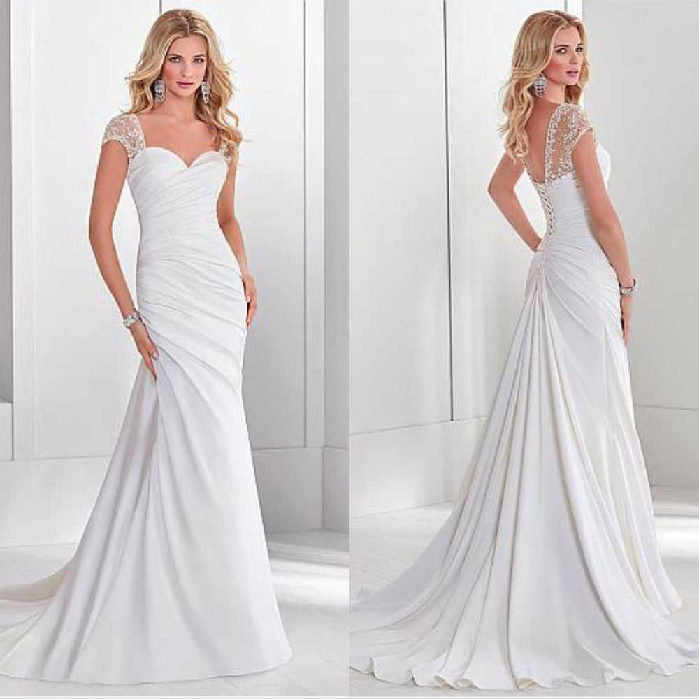 Elegant Sweetheart White Ruched Wedding Dress Cap Sleeve Court Train Chic Back Bridal Gowns Vestidos De Noiva 2019