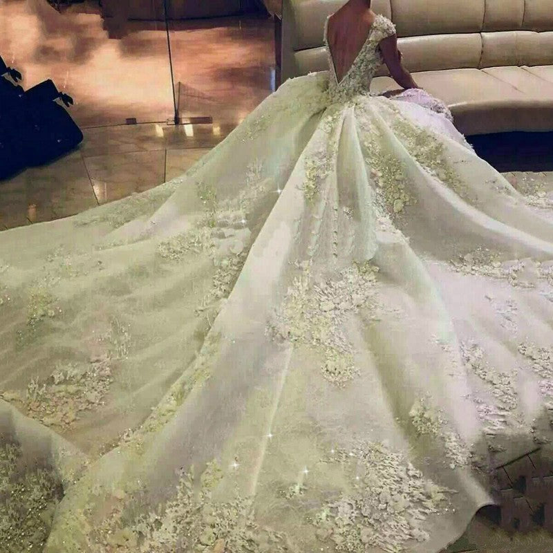 Gorgeous Wedding Dress vestido de noiva princesa 2019 robe de mariee Custom Made Ivory Long Bride Dress Beaded Appliques