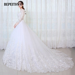 BEPEITHY Ball Gown Princess Wedding Dress Full Sleeves With Belt Vestido De Novia 2019 Lace Vintage Bridal Dresses Casamento