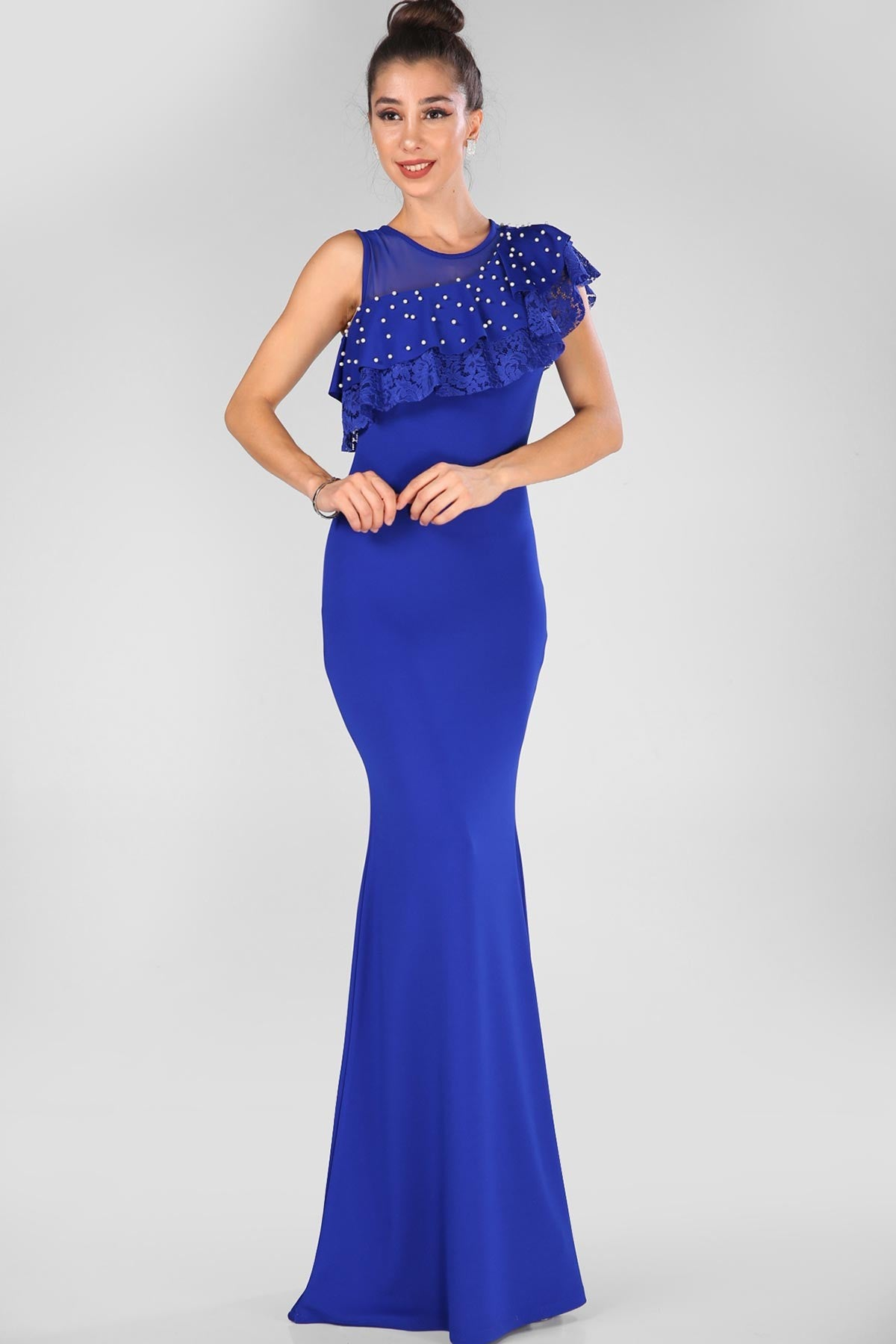 Pearled Saxe Evening Dress