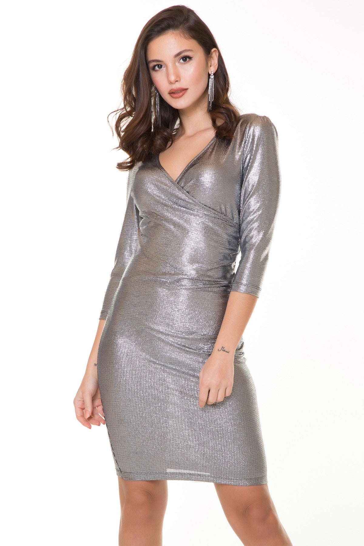 Women's Wrap Silver Dress