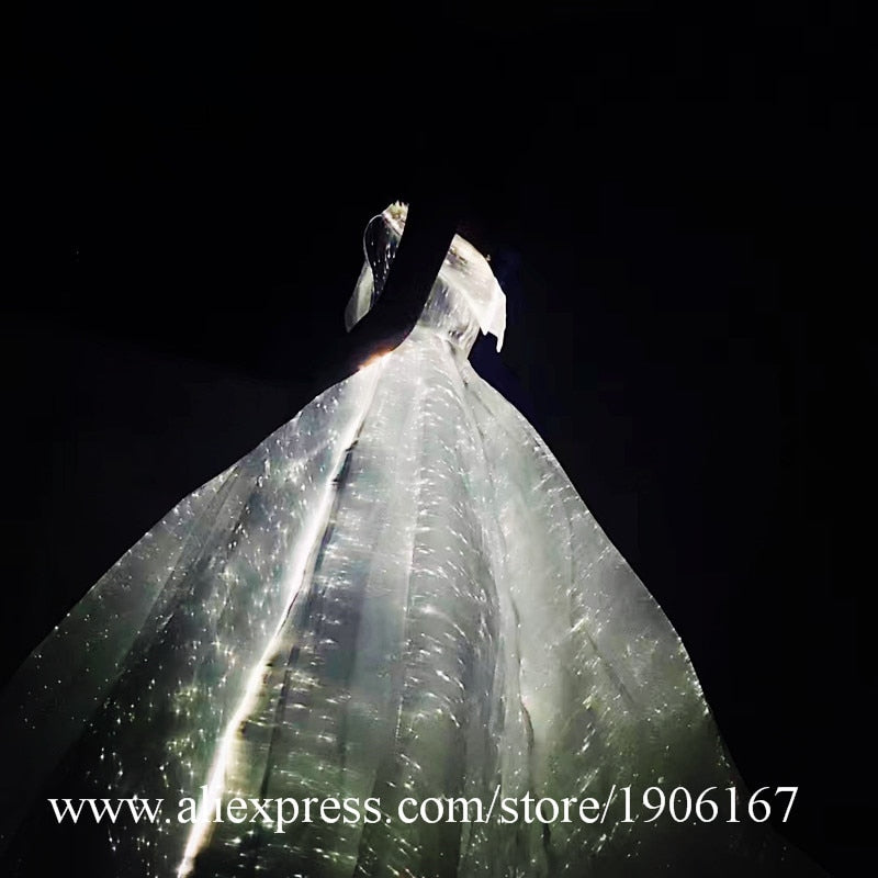 Led Colorful Luminous Party Evening Dress Music Festival Concert Wedding Dress Fiber Optic Lighting Masquerade Led Light Costume