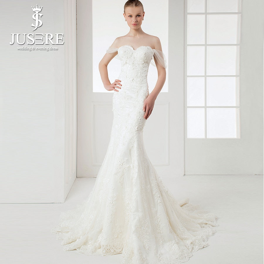 JUSERE Real Photos Off Shoulder Mermaid Wedding Dresses Full Appliques with Flowers vestido de noiva 2019 Elegant Bridal Gowns