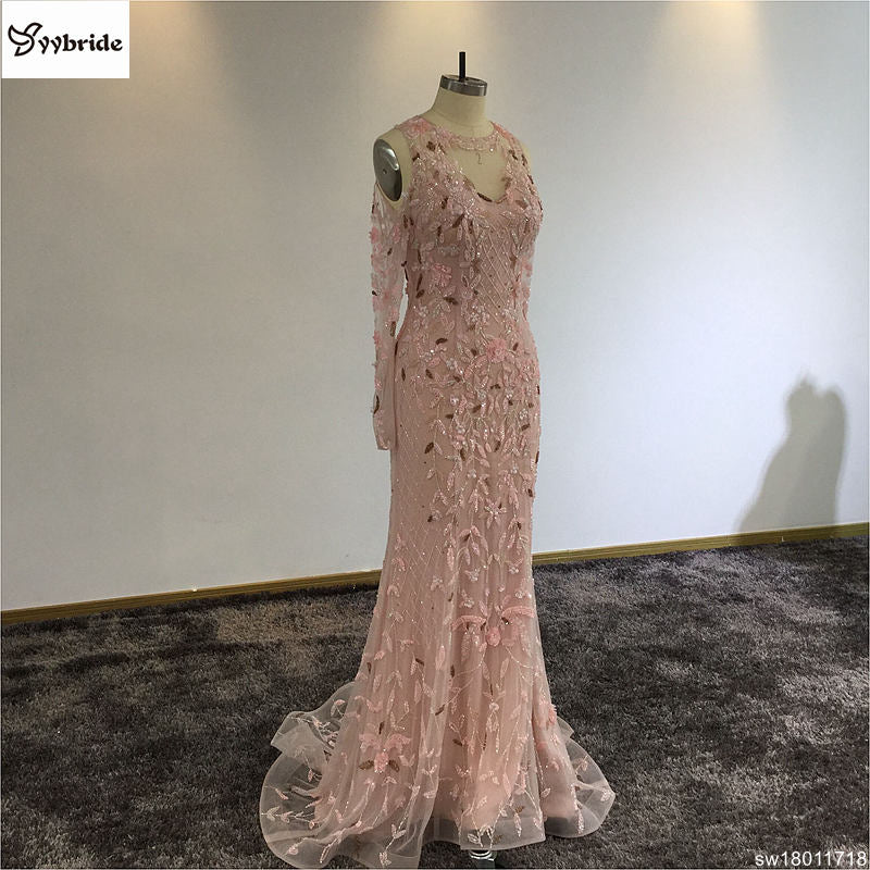 Surmount Pink Crystals Beading Dresses O-Neck Off the Shoulder Long Sleeves Pink Mermaid Illusion Court Train Evening Dresses
