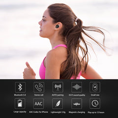 Wireless Earbuds V5.0 Bluetooth Earphone Headset Deep Bass Stereo Sound Sport Earphone