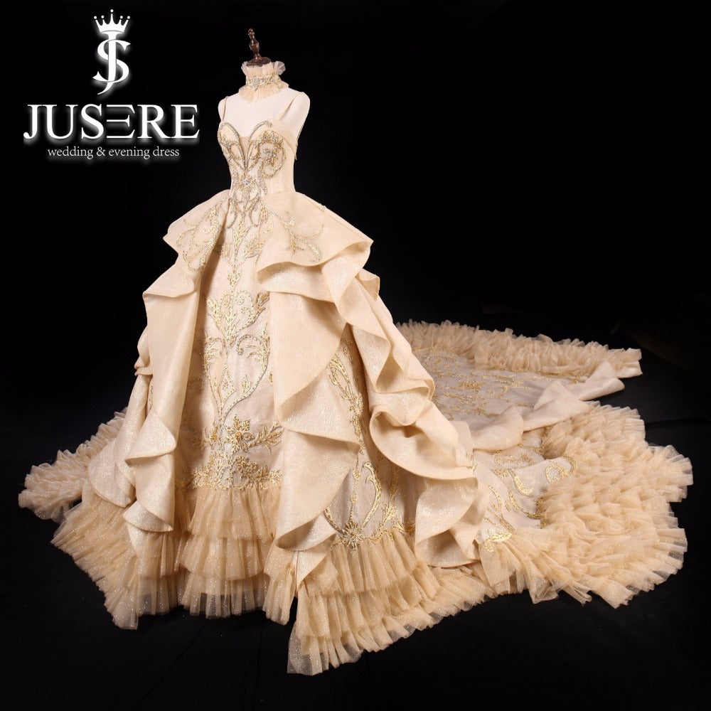 JUSERE Luxurious Gold Wedding Dress Strapless Backless Cathedral/Royal Train Bridal Ball Gowns Princess Dresses Vestido de noiva