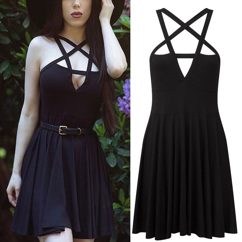 Hot Sale Fashion Women Sexy Five-pointed Star Wrapped Ladies Long Sling Dress Gothic Vintage Romantic Casual Dress