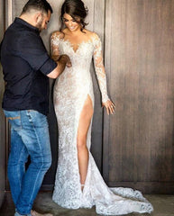 Sexy Illusion Appliques Lace Mermaid Wedding Dresses Long Sleeve Scoop Detachable Train Bride Dress Custom Vestido De Noive