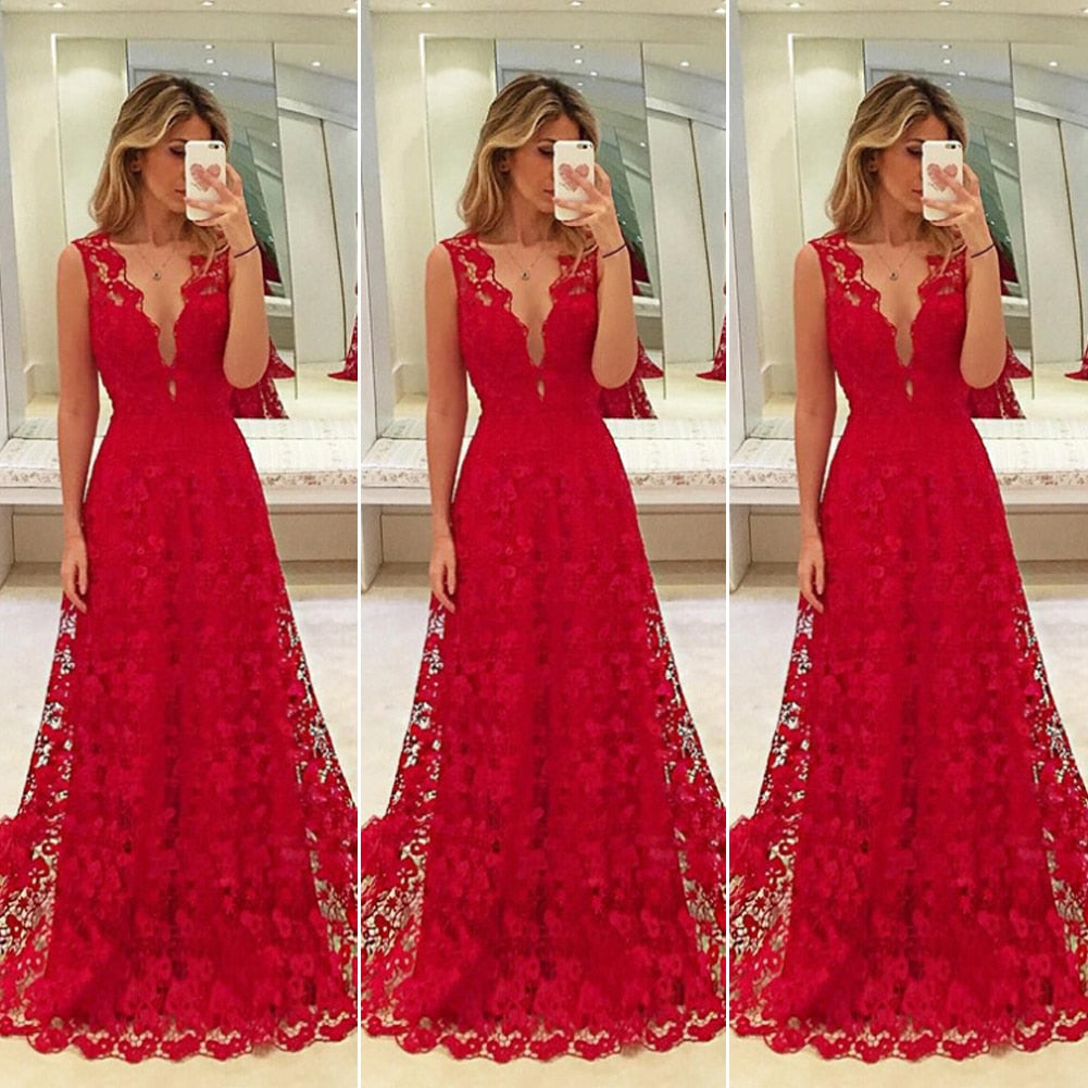 Women Long Lace Dress Evening Formal Party Prom  Gown Formal Evening Party Gowns Dress