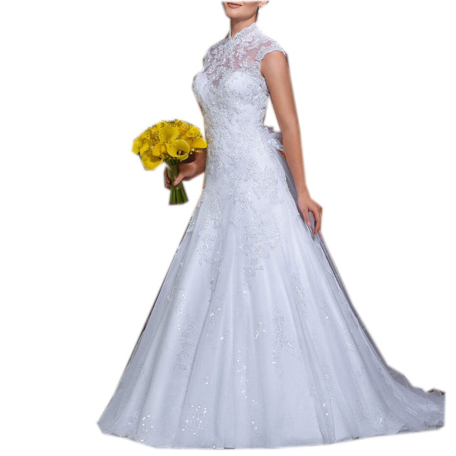 Bridal Gown For Women Short Sleeves High Court Train Floor-Length Ball Gown Custom-Made Illusion Wedding Dress Party 2019