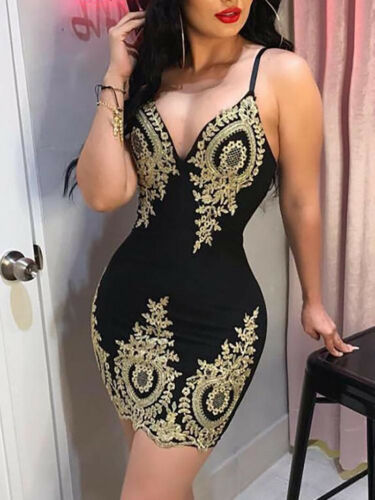 2019 New Womens Slim Print Fashion Sling Spaghetti Bodycon Lace Strappy Ladies Evening Party  Mini Short Dress Size S-XL V Neck