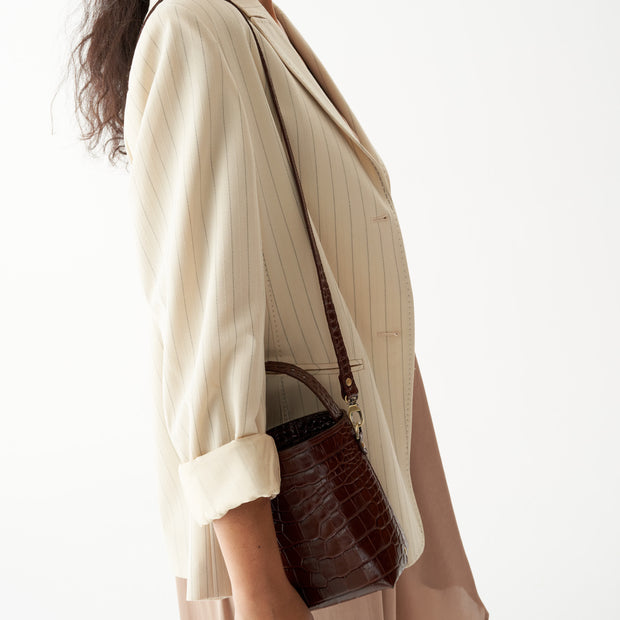 Bucket Bag Micro Caramel Croc