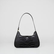Hobo Bag Black Croc Mat
