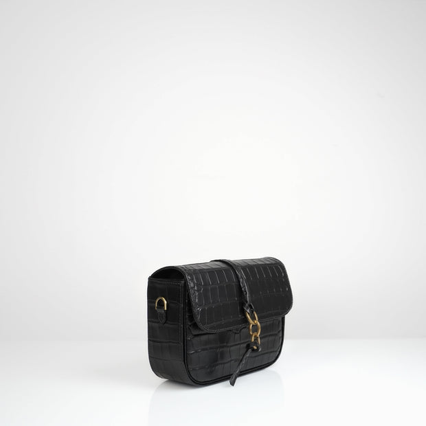 Mandel Box Bag Black Croc Mat