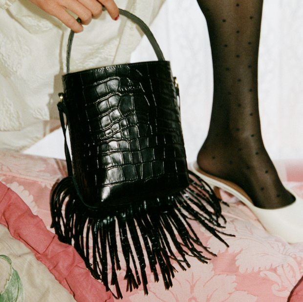 Bucket Bag Micro Black Croc Mat