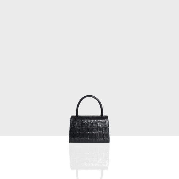Almond Bag Nano Black Croc Mat