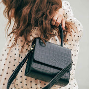 Almond Bag Midi Black Croc Mat