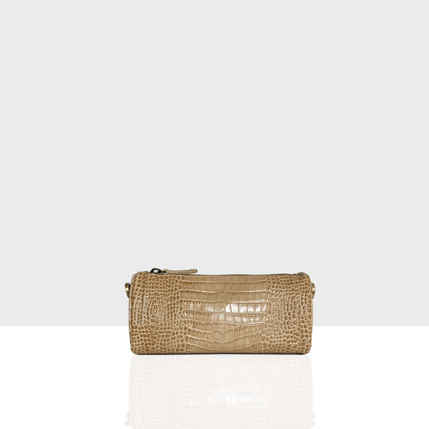 Vanity Bag Triangle Beige Croc