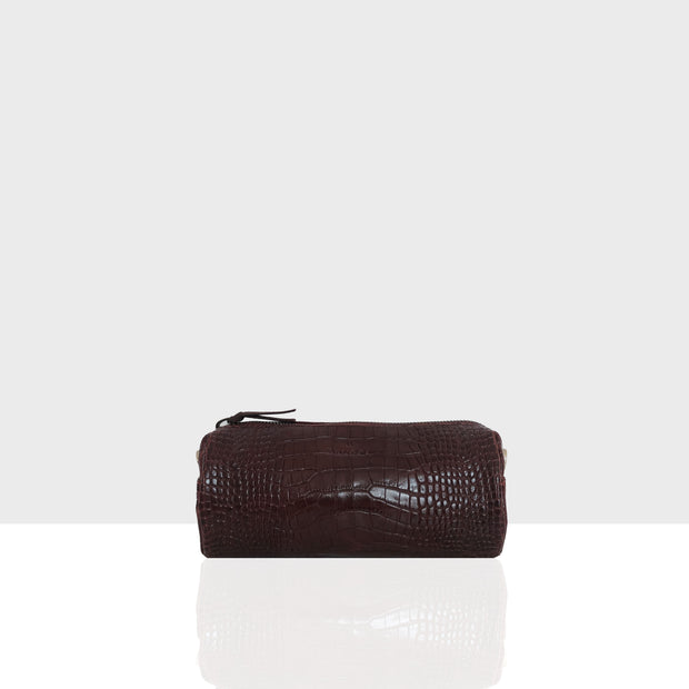 Vanity Bag Round Chocolate Croc