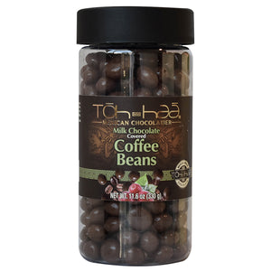 Coffee beans covered with milk chocolate