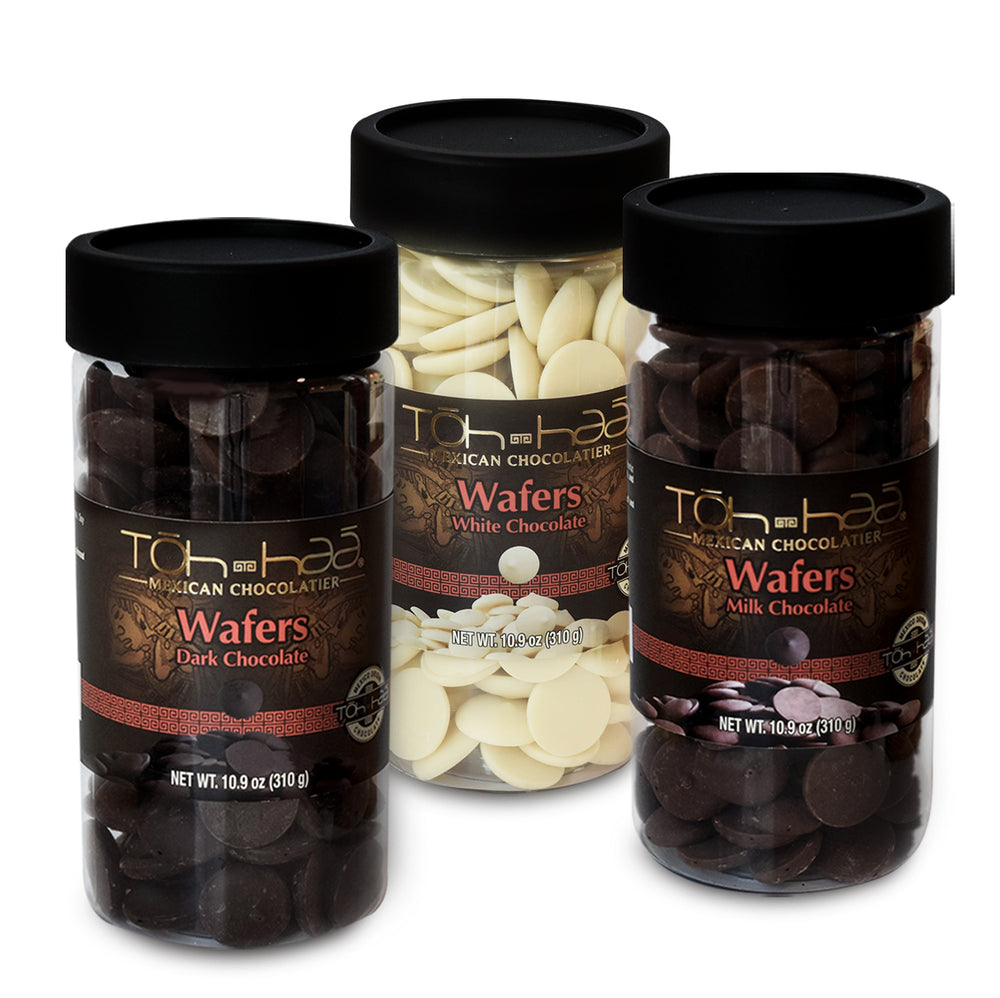 TÓH HAÁ Premium Coated Melting Wafers, Variety Pack, (Dark, Milk, and White), 10.9 Oz (Pack of 3).