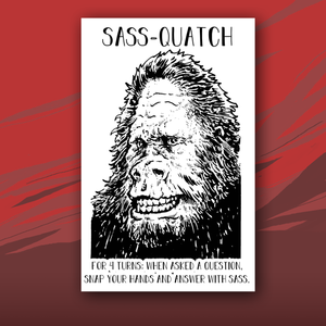 Sass-quatch card with drawing of Big Foot
