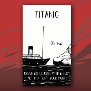Titanic card with picture of titanic hitting iceberg