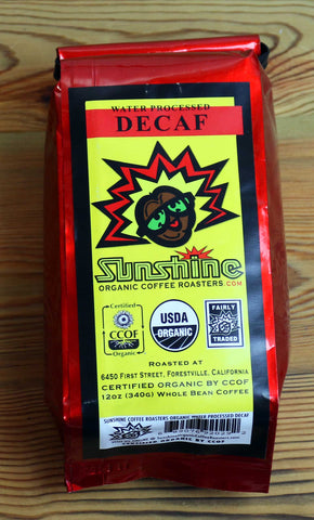 12oz Sunshine Organic Coffee Roasters Water Processed Decaf Whole Bean