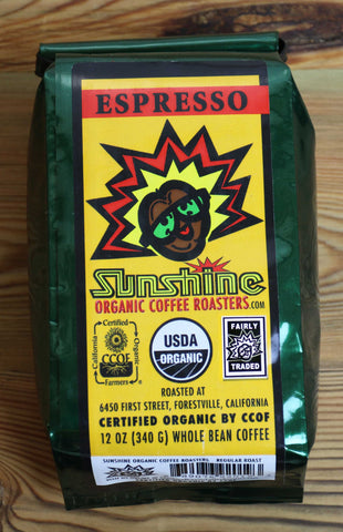 12oz Sunshine Organic Coffee Roasters Espresso Whole Bean