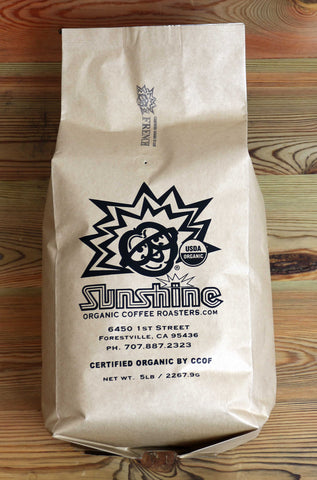 5lb Sunshine Organic Coffee Roasters French Roast Whole Bean