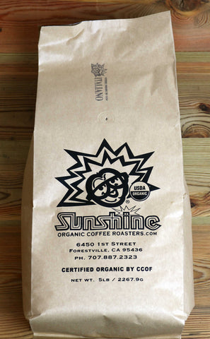 5lb Sunshine Organic Coffee Roasters Italiano Whole Bean
