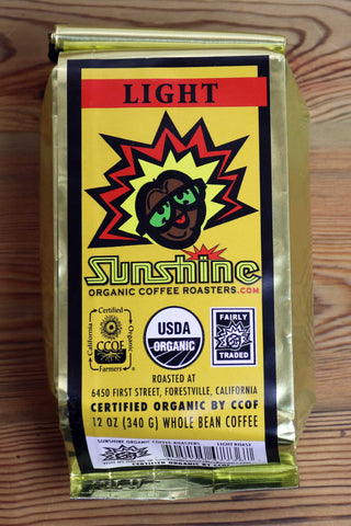 12oz Sunshine Organic Coffee Roasters Light Roast Whole Bean