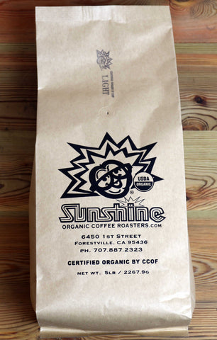5lb Sunshine Organic Coffee Roasters Light Roast Whole Bean