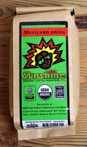 12oz Sunshine Organic Coffee Roasters Mexicano Whole Bean