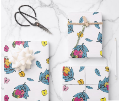 Wrapped Gifts with Floral Paper