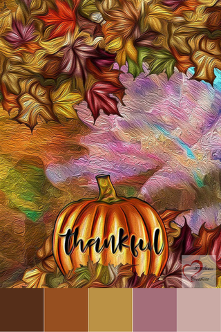 Pumpkin and Fall Leaves Thankful Art Mood Board