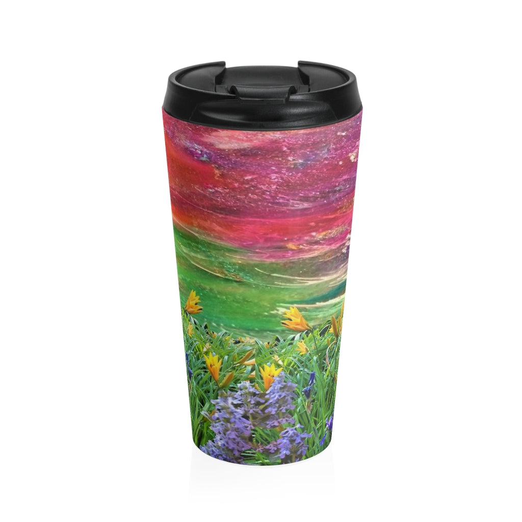Yellow Tiger Lily Stainless Steel Travel Mug