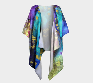 Sea for Miles Background Design Draped Kimono