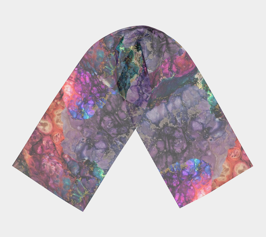 Colors in the Night Design Long Summer Scarf or Lightweight Headwrap