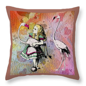Alice In Wonderland - Flamingos - Throw Pillow