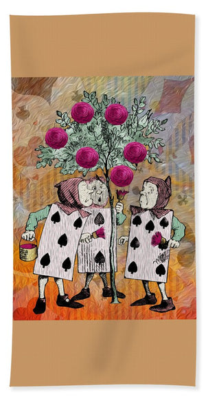 Alice In Wonderland - Rose Tree - Beach Towel
