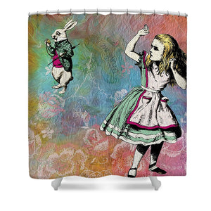 Alice In Wonderland - White Rabbit - Shower Curtain