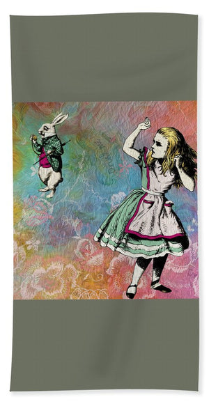 Alice In Wonderland - White Rabbit - Beach Towel