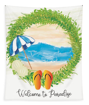 Beach Wreath - Welcome to Paradise - Tapestry