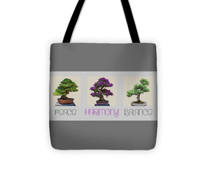 Bonsai - Peace Harmony Balance - Triptych - Tote Bag