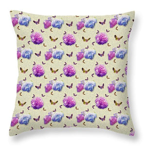 Butterflies and Hydrangea Pattern - Throw Pillow