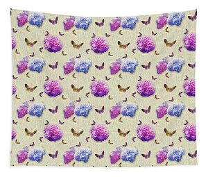 Butterflies and Hydrangea Pattern - Tapestry