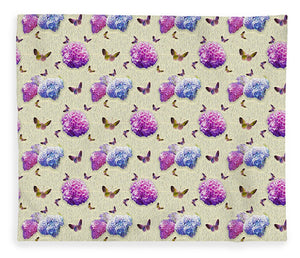 Butterflies and Hydrangea Pattern - Blanket